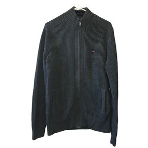 NWT Tommy Hilfiger Zip Front Gray Cotton Cardigan